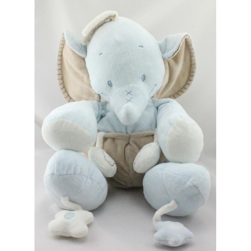 Grand Doudou éléphant bleu beige hochet miroir NATTOU
