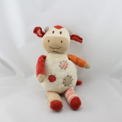 Doudou vache blanc beige orange NATURE ET DECOUVERTE