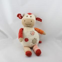 Doudou vache blanc beige orange NATURE ET DECOUVERTE