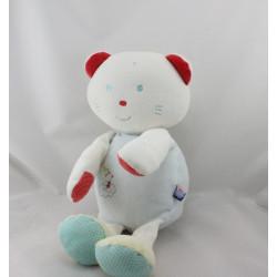 Doudou range pyjama chat bleu rouge blanc vert SUCRE D'ORGE