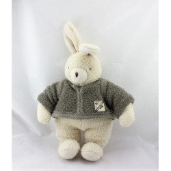 Doudou lapin blanc pull gris Philomene MOULIN ROTY