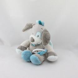 Doudou musical chien gris bleu train Gaston et Cyril NATTOU 30 cm