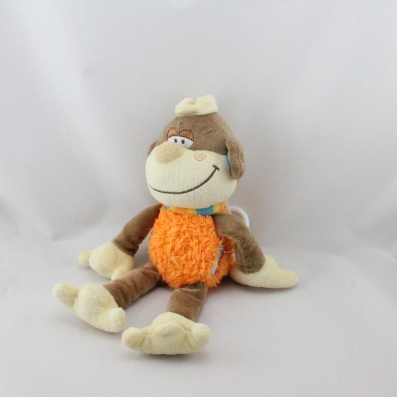 Doudou musical singe marron orange BENGY