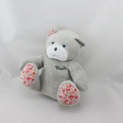 Doudou ours gris rose fleurs Musti Mustela