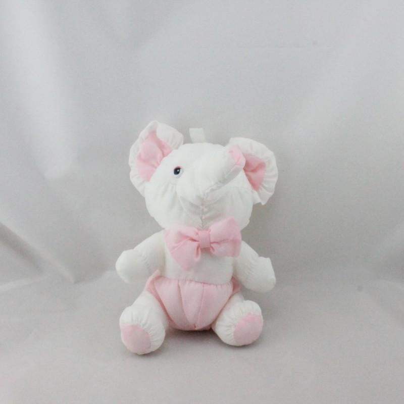 Peluche Puffalump éléphant rose blanc BIKIN