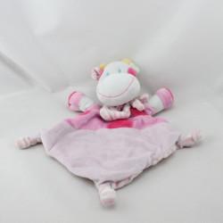 Doudou plat vache rose pois foulard rayé rose NICOTOY