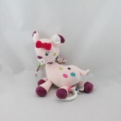 Doudou musical girafe biche faon rose prune BABYSUN
