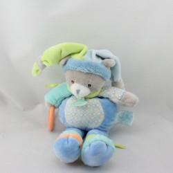 Doudou chat gris bleu vert orange pouet anneau BABY NAT