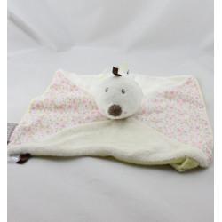 Doudou plat hérison blanc jaune rose fleurs Faustine Bébé9