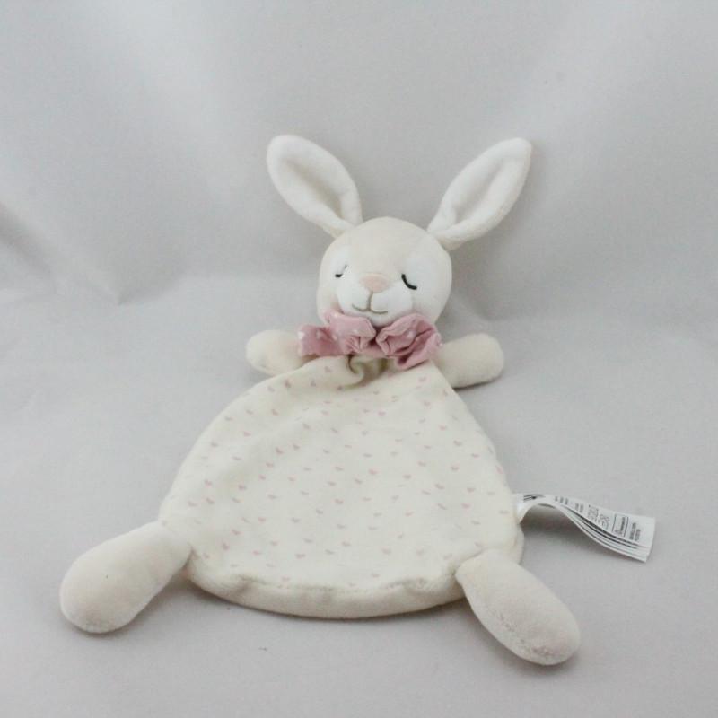 Doudou plat lapin blanc écru rose coeurs H ET M H.M H&M