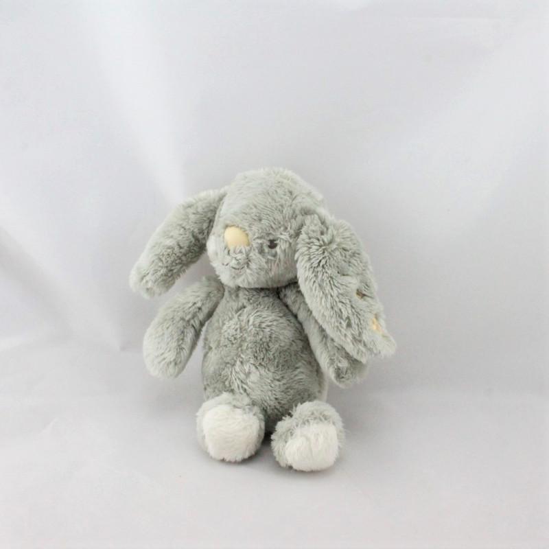 Doudou lapin gris blanc étoiles