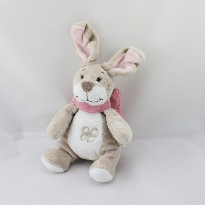 Doudou lapin beige blanc noeud rose Oscarine NOUKIE'S
