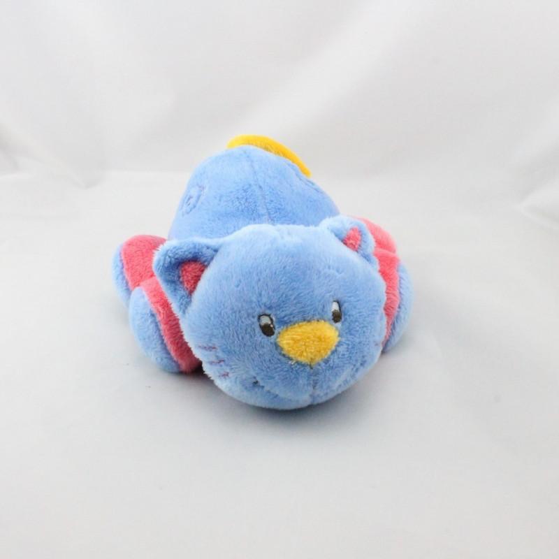 Doudou chat bleu rose jaune ADDEX JUNIOR
