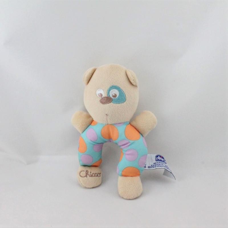 Doudou hochet ours beige bleu orange violet pois CHICCO