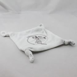 Doudou plat carré blanc chat gris Just Arrived