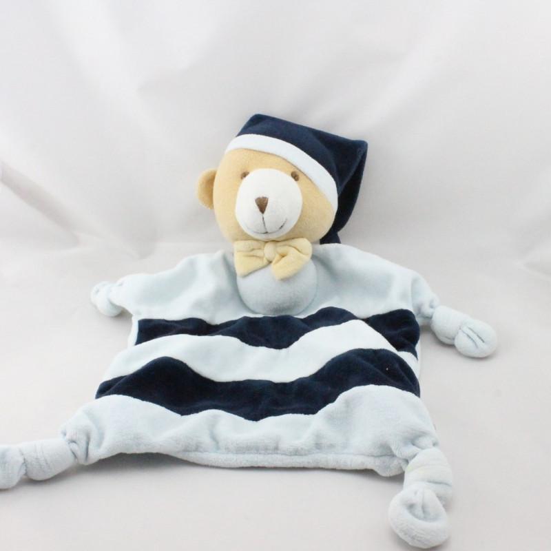 Doudou plat ours bleu rayé bleu marine BABOU