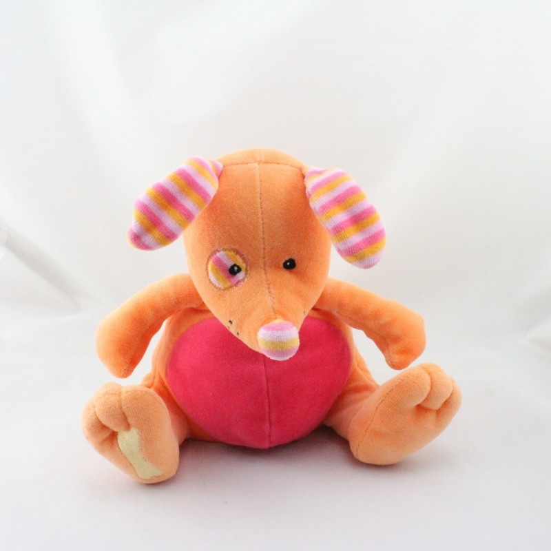 Doudou chien orange rose  rayé