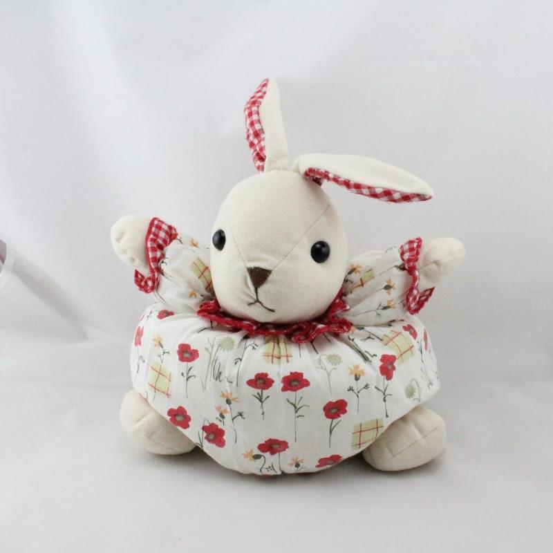 Doudou lapin blanc écru rouge fleurs vichy AJENA