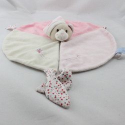 Doudou plat ours rose blanc pois GIPSY