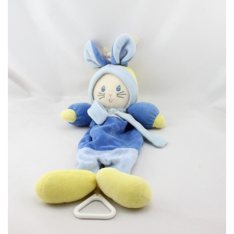 Doudou musical lapin bleu jaune NOUNOURS