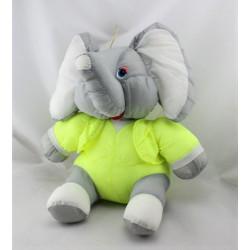 Peluche Puffalump éléphant gris blanc jaune fluo JOUMECA