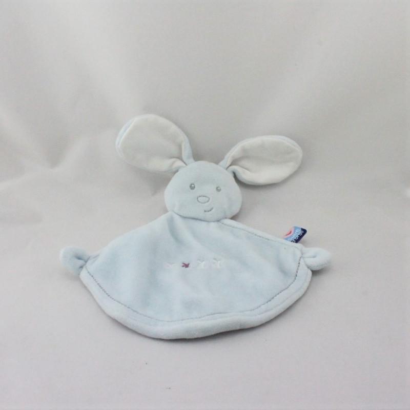 Doudou plat lapin bleu SUCRE D'ORGE