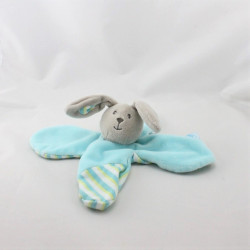 Doudou plat fleur lapin gris bleu vert rayé BABY NAT