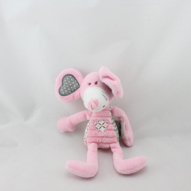 Doudou souris rose grise Bengy