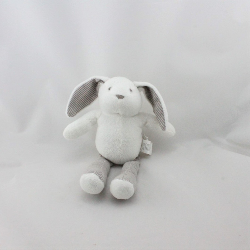 Doudou lapin blanc rayé beige marron SERGENT MAJOR