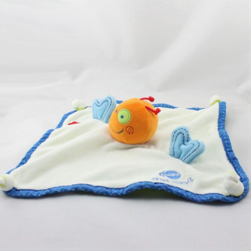 Doudou plat poisson blanc bleu orange Biocosmos ITSIMAGICAL
