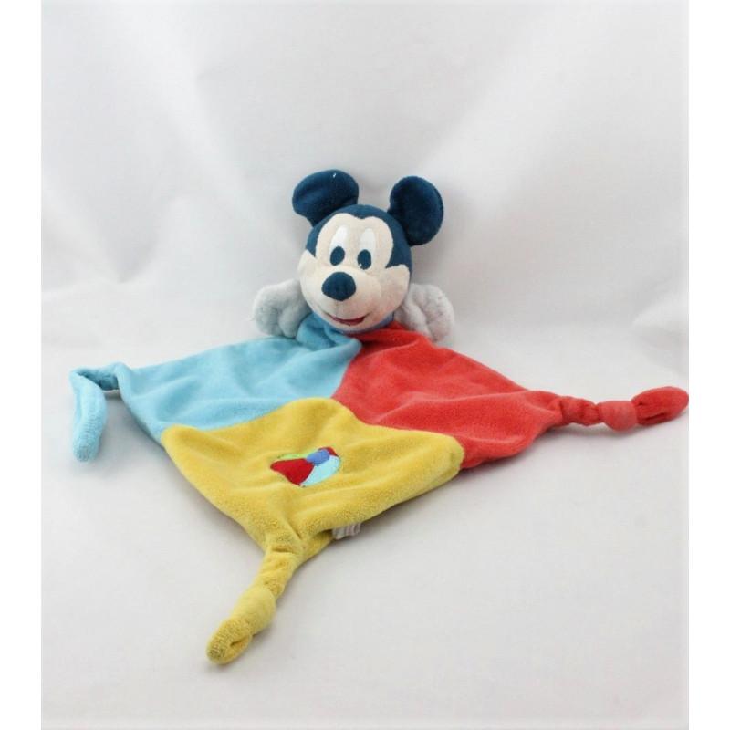 Doudou plat Mickey rouge bleu jaune DISNEYLAND