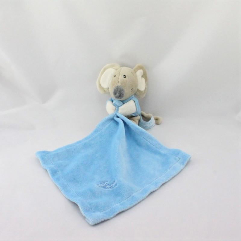Doudou souris avec mouchoir bleu TIAMO