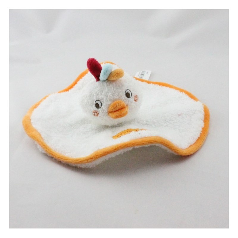 Doudou plat oiseau poule blanc orange éponge SUCRE D'ORGE