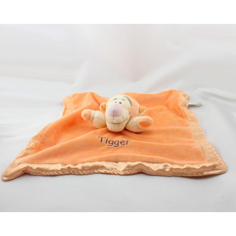 Doudou plat Tigrou Tigger orange satin DISNEY