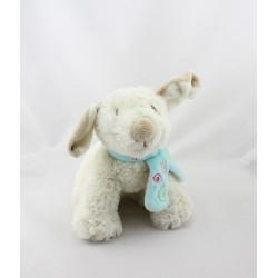 Doudou chien blanc Tifoo écharpe bleu NOUKIE'S