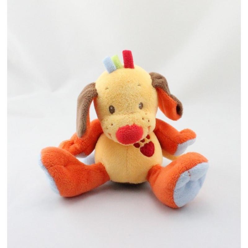 Doudou musical chien jaune orange bleu NATTOU