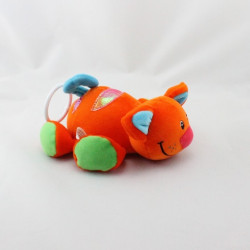 Doudou vibrant chat orange vert bleu rouge LGR INTERNATIONAL