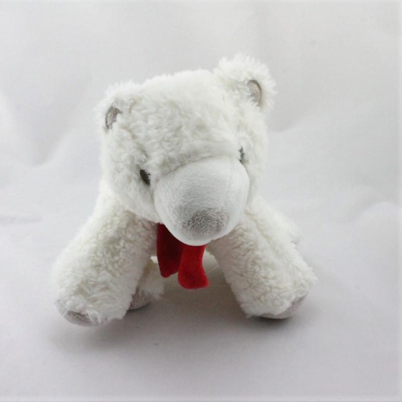 Doudou ours polaire blanc gris rouge OBAIBI