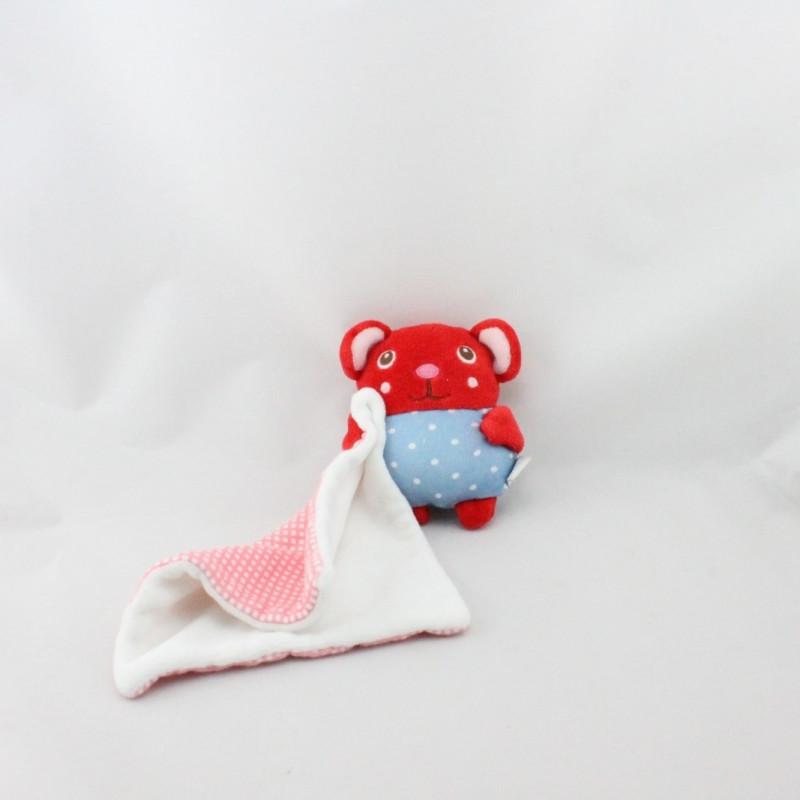 Doudou souris rouge bleu pois mouchoir DPAM