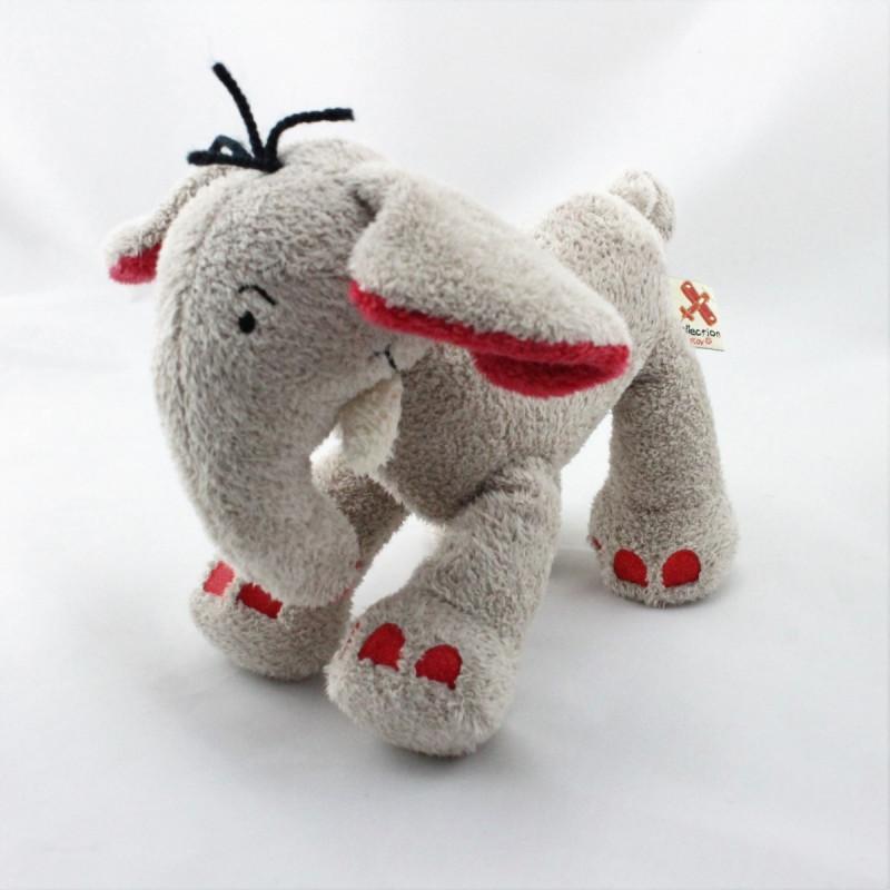 Doudou éléphant beige gris rouge NICOTOY