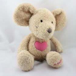 Doudou souris beige coeur rose LILLEBI