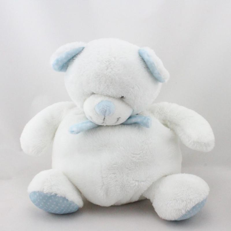Doudou ours boule blanc bleu pois TEX BABY