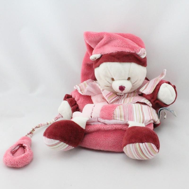 Doudou plat marionnette chat Minouchette rose bordeaux DOUDOU ET COMPAGNIE