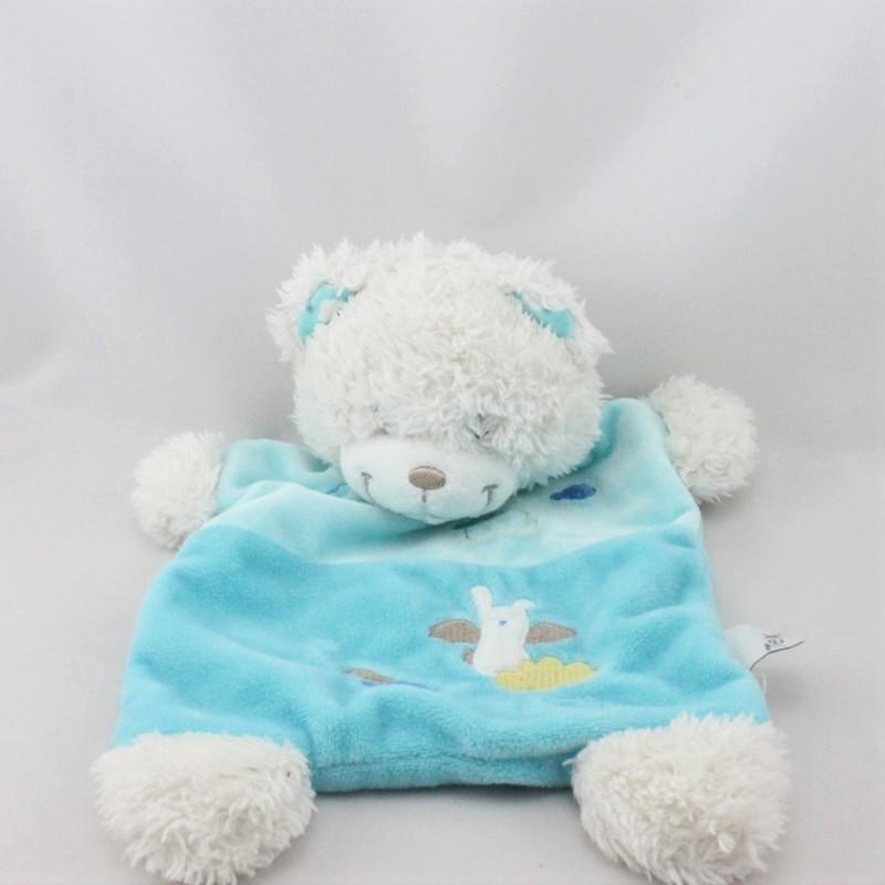 Doudou plat ours blanc bleu nuages ange TEX BABY