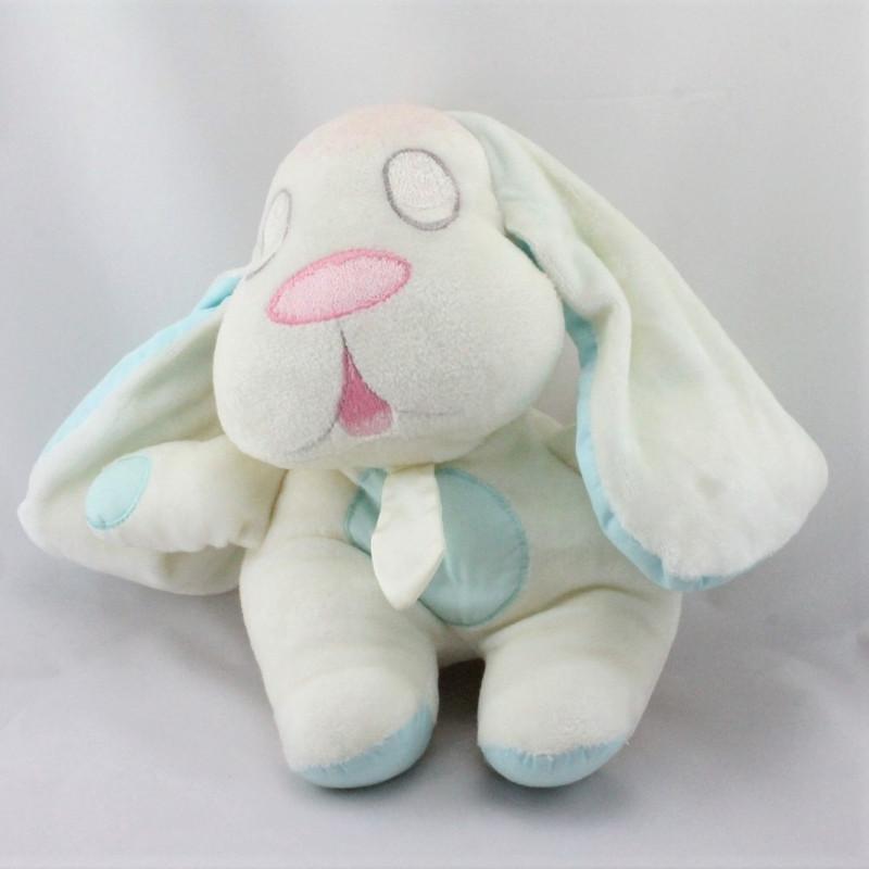 Ancien doudou peluche chien blanc bleu rose MUNDIA