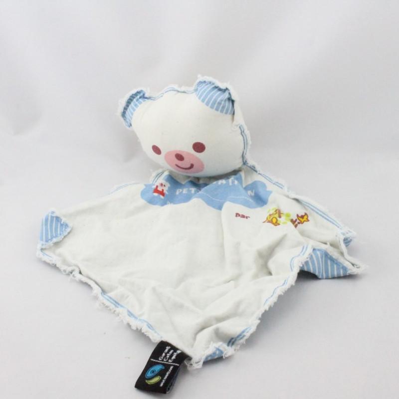 Doudou plat ours blanc rayé bleu le petit Nathan PAPILI