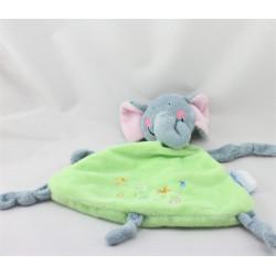 Doudou plat éléphant bleu vert LES BEBES D'ELYSEA