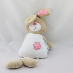 Doudou lapin beige blanc rose LES BEBES D'ELYSEA