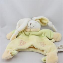 Doudou plat marionnette lapin blanc jaune vert VACO