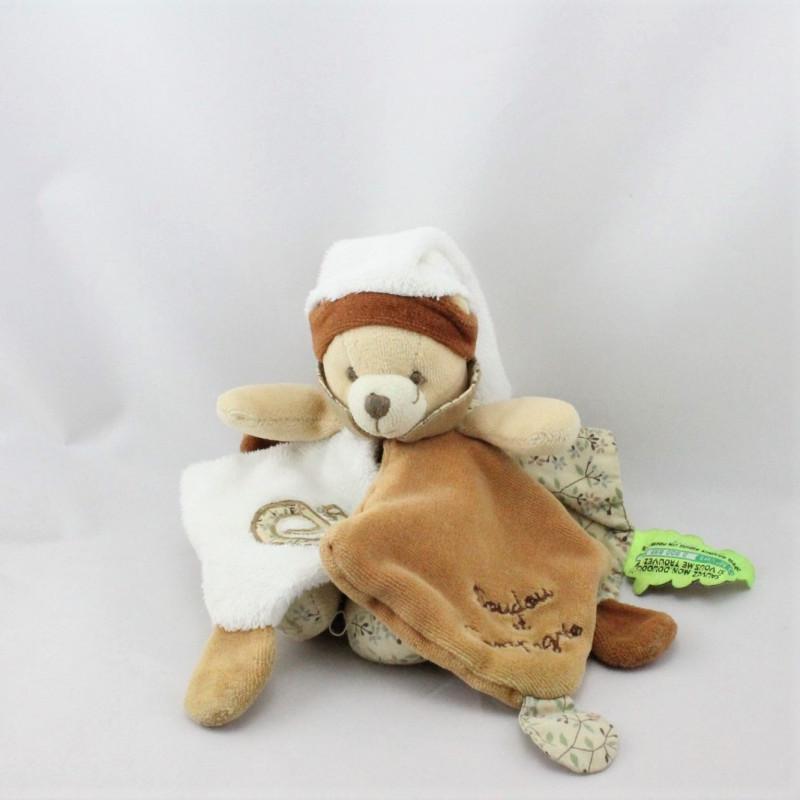 Doudou et compagnie ours marron blanc fleurs TATOO